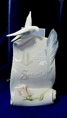 Lladro #7677 Art Brings Us Together Bnib Scroll Dove Quill $75 Off Free Shiping
