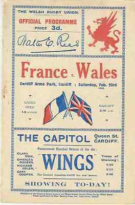 WALES v FRANCE 1929 RUGBY PROGRAMME 23 Feb at CARDIFF