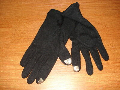 Large L Women's echo RUNWAY Touch Screen Gloves Black Wool Blend Pleated