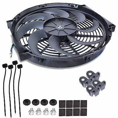 "Universal 9"" Engine Cooling Radiator Intercooler Curved Blade 12V 80W Fan Kit"