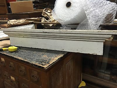 c1880 vintage VICTORIAN window header PEDIMENT lintel OLD white paint 48 x 8 x 3