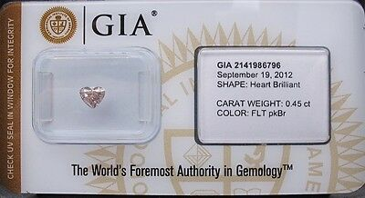 GIA Cert 0.45ct HEART cut diamond NATURAL FANCY Light PINKISH brown Sealed