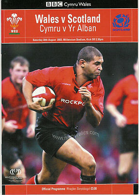 WALES v SCOTLAND 2003 RUGBY PROGRAMME 30 Aug at CARDIFF WORLD CUP WARM UP MATCH