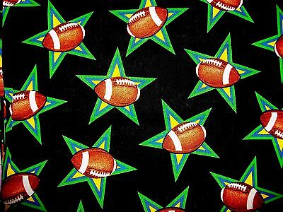 Footballs &  Stars On Black Cotton Quilt Fabric