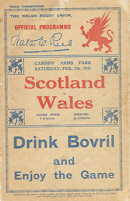 WALES v SCOTLAND 1931 RUGBY PROGRAMME 7 Feb at CARDIFF