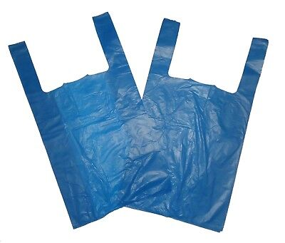 """100 Jumbo Strong Blue Vest Style Carrier Bags 12""""x18""""20"""" Free Delivery"""