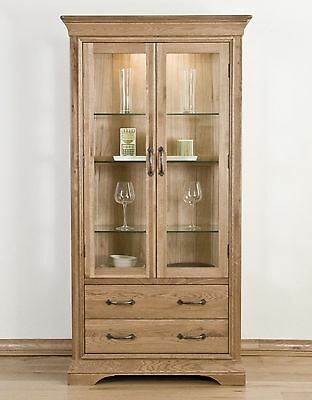 French solid oak furniture glazed display cabinet cupboard