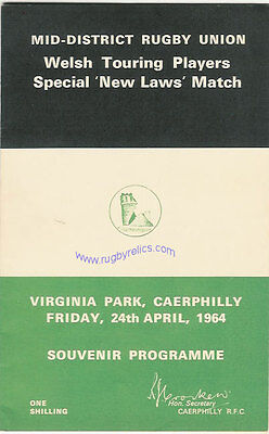 WALES RUGBY INTERNATIONAL TRIAL PROGRAMME 24 Apr 1964 at Caerphilly