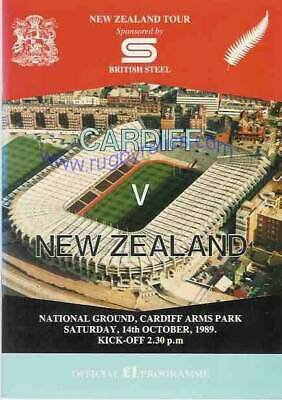 NEW ZEALAND ALL BLACKS TOUR 1989 v CARDIFF RUGBY PROGRAMME