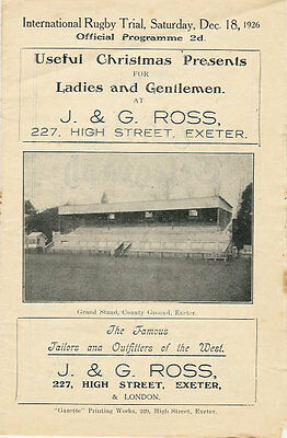 ENGLAND RUGBY INTERNATIONAL TRIAL PROGRAMME 18 Dec 1926 at EXETER