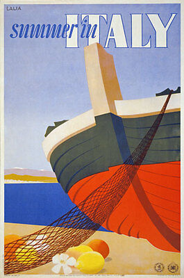 TX24 Vintage 1951 Summer In Italy Italian Travel Tourism Poster Re-Print A4