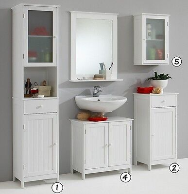 STOCKHOLM White Bathroom Vanity Unit Cabinets and Cupboards