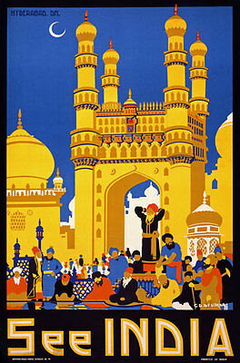 TX68 Vintage 1950's See India Hyderabad Indian Travel Poster Re-Print A4