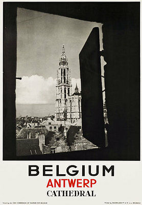 TR20 Vintage Belgium Antwerp Cathedral Travel Poster Re-Print A4