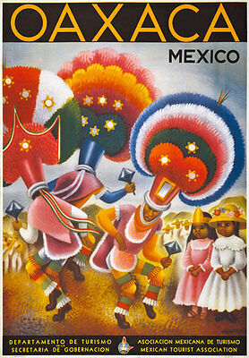 TT41 Vintage 1940's Oaxaca Mexico Mexican Travel Tourism Poster Re-Print A4