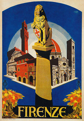 TV39 Vintage 1926 Firenze Florence Italian Italy Travel Poster Re-Print A4