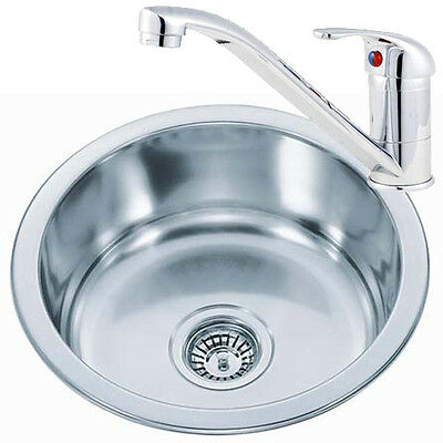 Small Round Bowl Stainless Steel Inset Kitchen Sink U0026 Chrome Mixer Taps  (KST073)