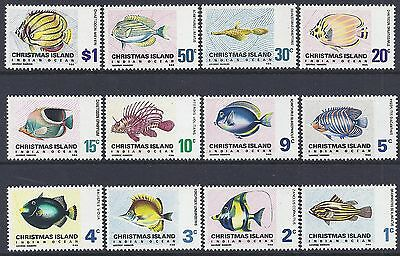 1968 Christmas Island Fish Definitives Fine Mint Set Of 12 Mnh/muh