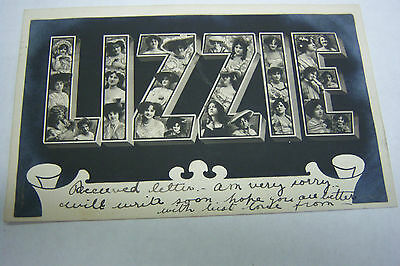 """Vintage 1906 """"Lizzie"""" Name Made in New York Post Card 100212JBe2"""