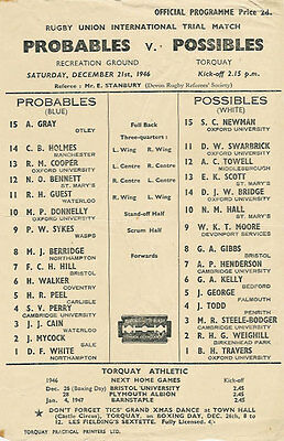 ENGLAND RUGBY INTERNATIONAL TRIAL PROGRAMME 21 Dec 1946 at TORQUAY