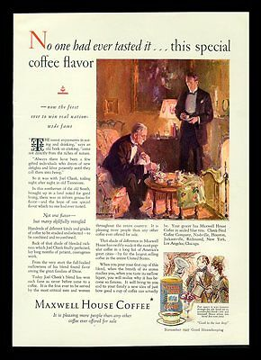 """Maxwell House Coffee """"special Coffee Flavor"""" 1927 Print Ad"""