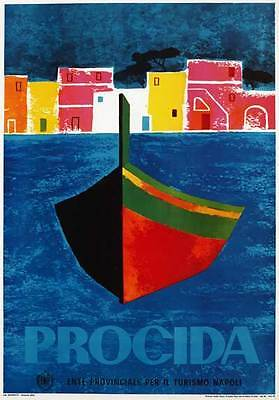 TV95 Vintage 1960's PROCIDA Naples Italian Italy Travel Poster Re-Print A4