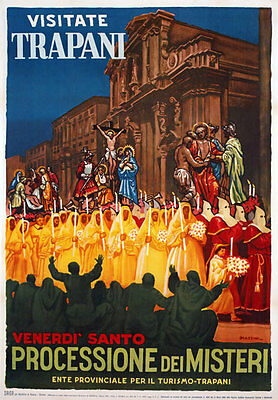 TW10 Vintage 1950 Trapani Sicily Italian Italy Travel Poster Re-Print A4