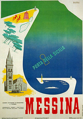 TW15 Vintage 1953 Messina Sicily Italian Italy Travel Poster Re-Print A4