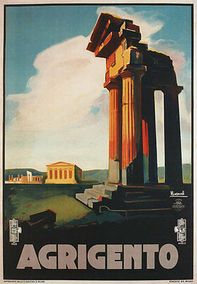 TW07 Vintage 1928 Agrigento Sicily Italian Italy Travel Poster Re-Print A4