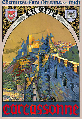 TT17 Vintage Carcassonne French France Travel Tourism Poster Re-Print A4