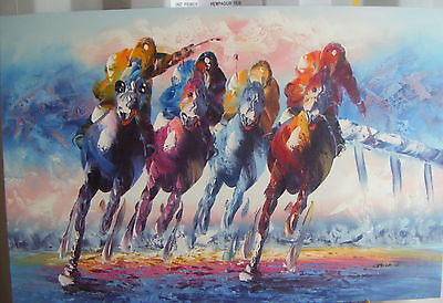 """Colourful Horse Racing Art Oil Painting 24X36"""" Stretched"""