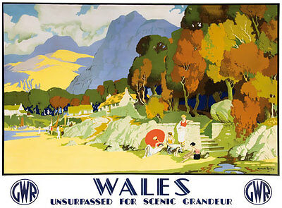 TT97 Vintage Scenic Wales GWR Railway Travel Poster Re-Print A4