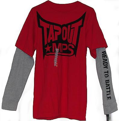 TAPOUT MPS MMA UFC READY TO BATTLE RED MOCK LONG SLEEVES T-SHIRT BNWT DOS SANTOS