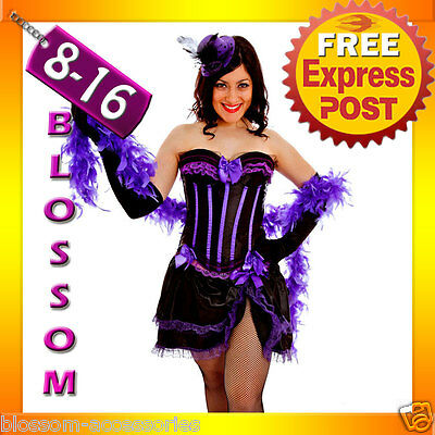 G68 Purple Burlesque Spanish Can Can Hens Night Costume Corset