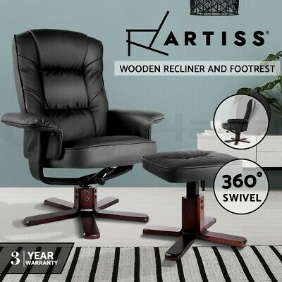 PU Leather Wood Lounge Arm Chair Recliner Ottoman Office Armchair Couch Black