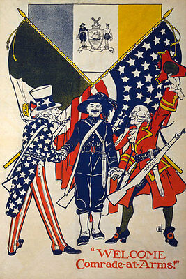 W16 Vintage WWI American Comrade Uncle Sam World War Poster WW1 Re-Print A4