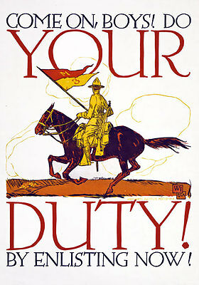 W17 Vintage WWI American Do Your Duty Enlist Recruitment World War Poster WW1 A4