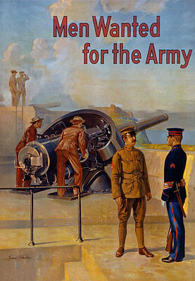 W28 Vintage WWI US Army Men Wanted Recruitment War Poster WW1 Re-Print A4