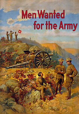 W31 Vintage WWI US Army Men Wanted Recruitingt Enlist War Poster WW1 A4
