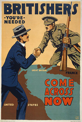 W42 Vintage WWI Britishers Your Needed Britain War Poster WW1 Re-Print A4