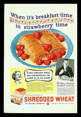 "1936 Shredded Wheat "" When It's Breakfast Time In Strawberry Time""  Print Ad"