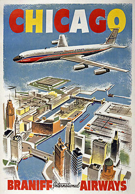 TX115 Vintage Chicago Braniff Airways Airline Travel Poster Re-Print A1/A2/A3