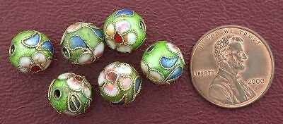 Six 10Mm Floral Round Green Cloisonne Bead