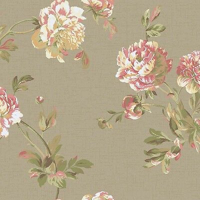 Wallpaper Designer Pink White Cream Yellow & Green Peony on Taupe Metallic Faux