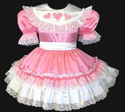 *Custom Fit* Candy Pink Satin Hearts Adult Baby Sissy LG  Dress LEANNE