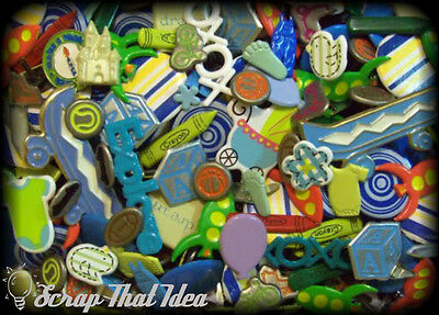 Baby Boy  BRADS - Mixed BULK. 40Pcs.  Scrapbooking Embellishments.  HUGE Variety