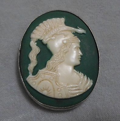 Rare Male Cameo With Reptile On Head Green Porcelain Frame