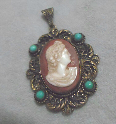 Victorian  Cameo Pendant  Turquoise  Weis