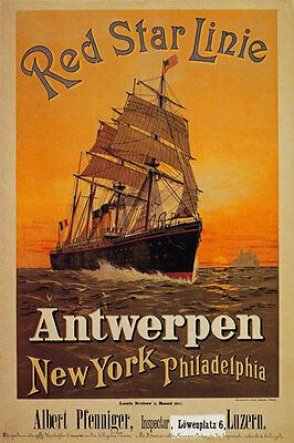 TX152 Vintage Red Star Line Antwerp New York Cruise Travel Poster Re-Print A4