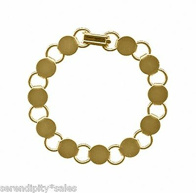 3 GOLD Plated BRACELET Blanks Forms ~ 11 Round Disc pads for Beads ~ 7 inch Long